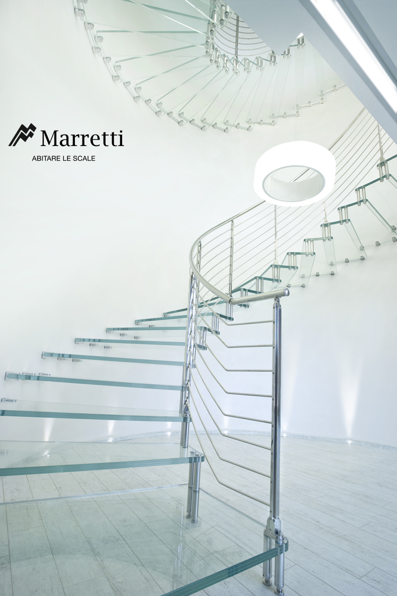Glass Cantilever Staircase, production by Marretti, Made in Italy