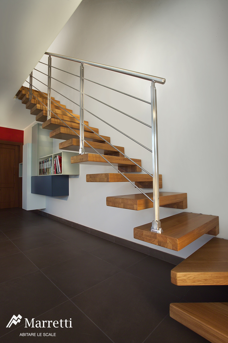 Wooden Open Cantilever Staircase, Interior Wooden Stairs Production