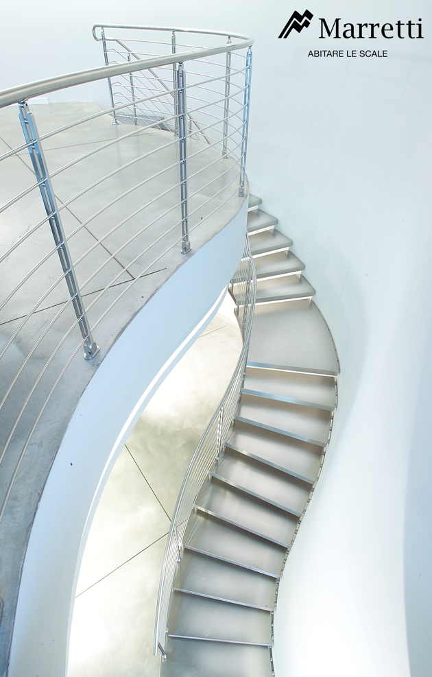 Stainless steel cantilever staircase metal stacked for Marretti scale