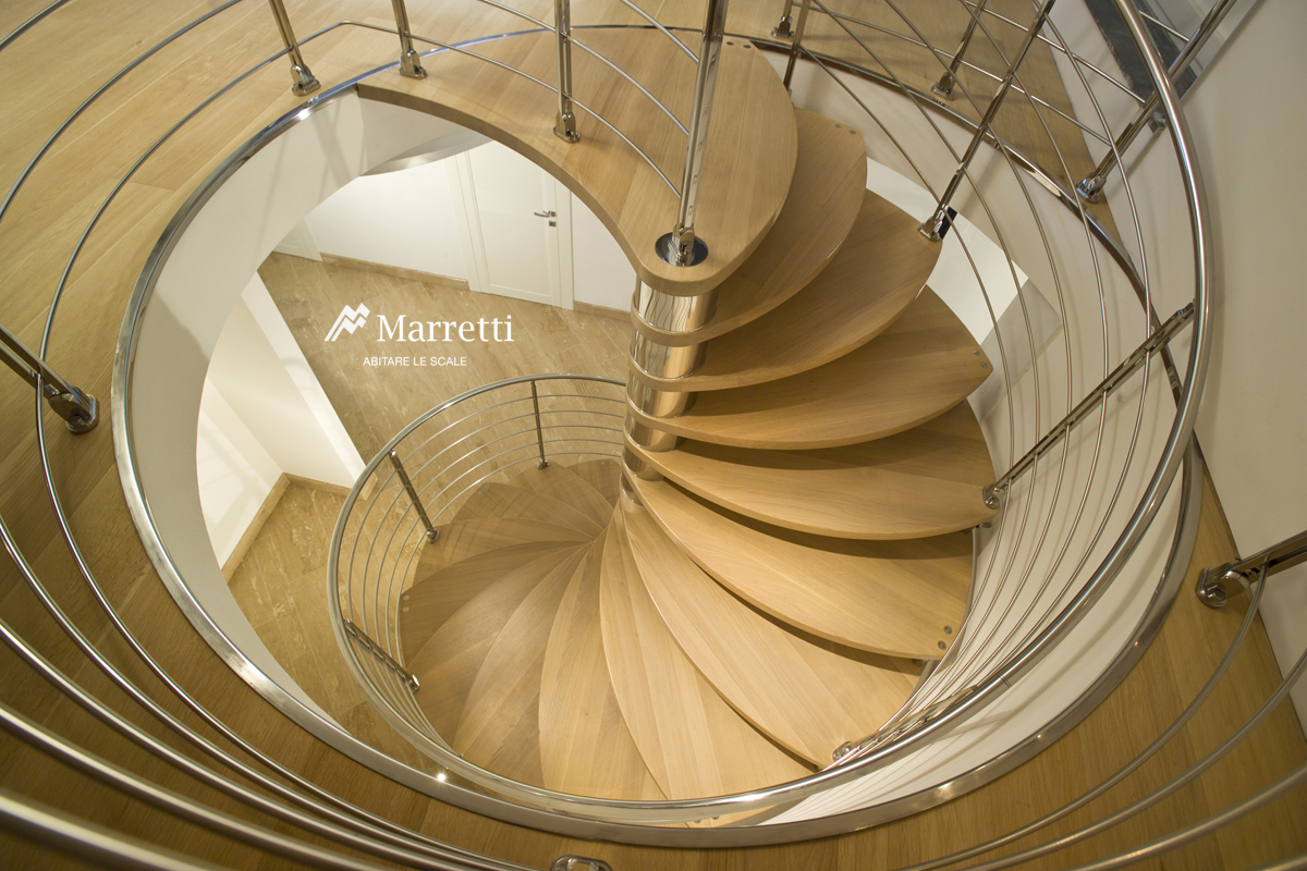 Steel and wood spiral staircase marretti spiral stairs for Scala chiocciola